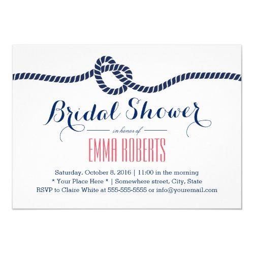 Nautical Bridal Shower Tying The Knot Navy Blue Invitations