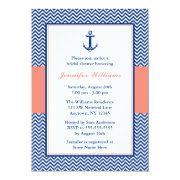 Nautical Chevron Anchor Blue Coral Bridal Shower