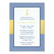 Nautical Chevron Anchor Blue Gold Bridal Shower