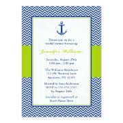 Nautical Chevron Anchor Blue Green Bridal Shower