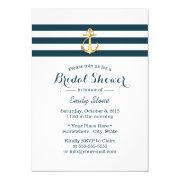 Nautical Gold Anchor Navy Stripes Bridal Shower