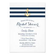 Nautical Gold Anchor Navy Stripes Bridal Shower