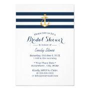 Nautical Gold Anchor Navy Stripes Bridal Shower Invitations