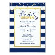 Nautical Gold Navy Blue Stripes Bridal Shower