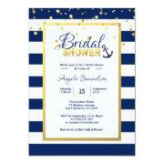 Nautical Gold Navy Blue Stripes Bridal Shower Invitation