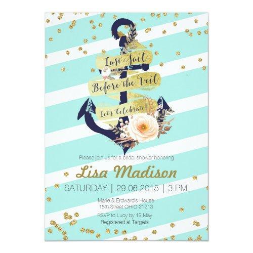 Nautical Gold Striped Bridal Shower Invitation
