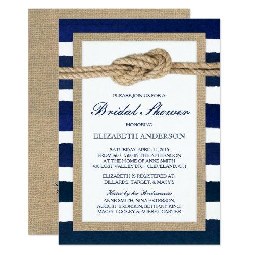 Nautical Knot Navy Stripes Rustic Bridal Shower Invitations