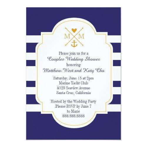 Nautical Monogram Couples Wedding Bridal Shower Invitations