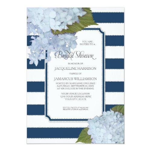 Nautical Navy Blue Hydrangea Modern Bridal Shower Invitations