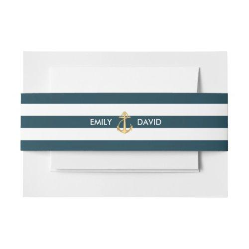 Nautical Navy Blue Stripes Gold Anchor Wedding Invitation Belly Band