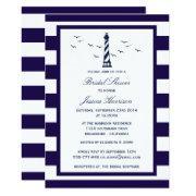 Nautical Navy Stripe Lighthouse Bridal Shower Invitation