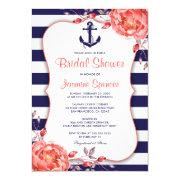 Nautical Striped Navy Blue And Coral Bridal Shower