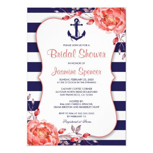 Nautical Striped Navy Blue And Coral Bridal Shower Invitations