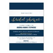 Navy And White Stripes Gold Glitter Bridal Shower