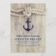 Navy Blue Anchor Rustic Nautical Bridal Shower Invitation
