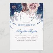Navy Blue And Mauve Floral Bridal Shower Invitation