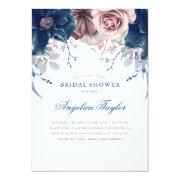 Navy Blue And Mauve Floral Bridal Shower Invitation