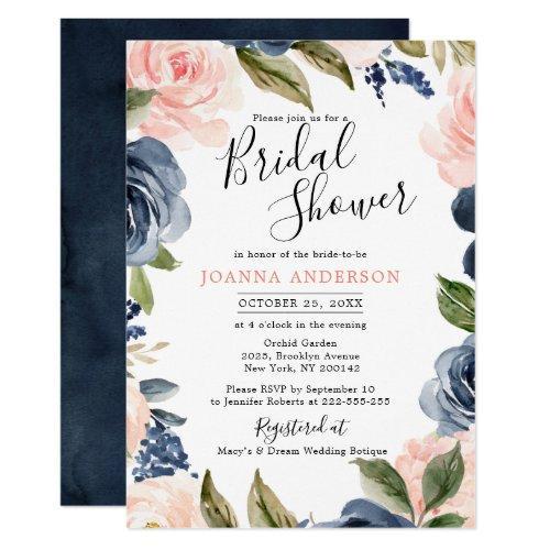 Navy Blue Blush Pink Rose Boho Bridal Shower Invitation