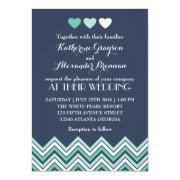 Navy Blue Chevron Pattern Wedding Invitation