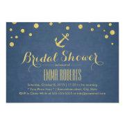 Navy Blue Gold Anchor Nautical Bridal Shower