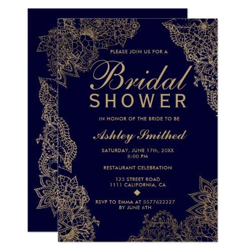 Navy Blue Gold Floral Elegant Bridal Shower Invitation