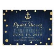 Navy Blue Gold Foil Anchor Nautical Bridal Shower