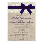 Navy Blue Lace Burlap Bridal Shower