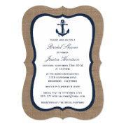 Navy Blue Nautical Anchor On Burlap Bridal Shower