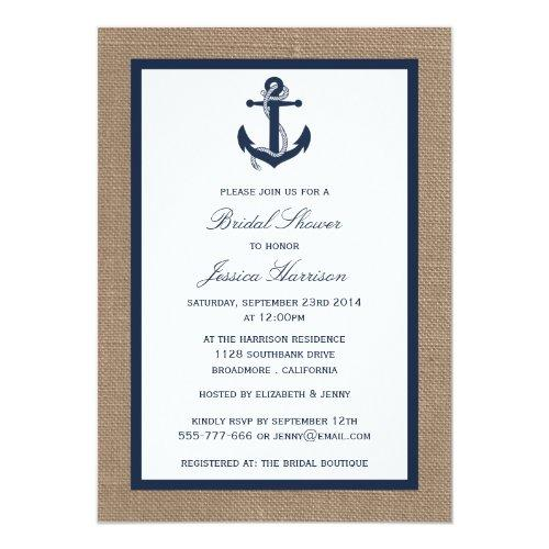 Navy Blue Nautical Anchor On Burlap Bridal Shower Invitations