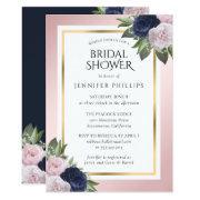 Navy Blue Pink Blush Gold Floral Bridal Shower Invitation