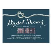 f1dabdd680d Navy Blue Rope Knot Nautical Bridal Shower Invitations