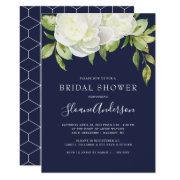 Navy Blue Spring Floral Peony Bridal Shower Invitation