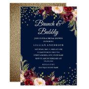 Navy Burgundy Floral Confetti Brunch And Bubbly Invitation