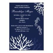 Navy Coral Reef Seahorse Bridal Shower Invitations