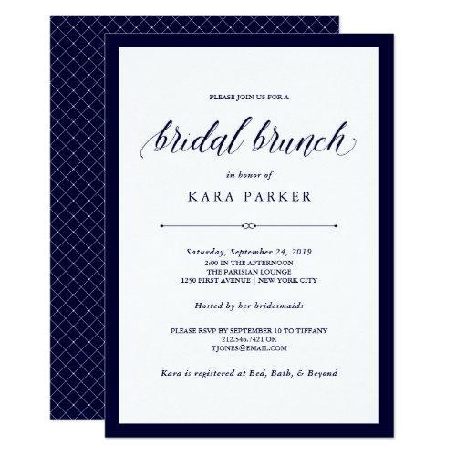 Navy Couture   Elegant Bridal Brunch Invitation