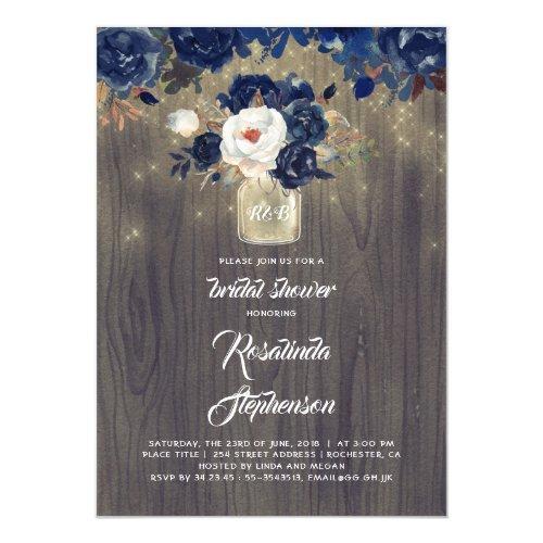 Navy Floral Mason Jar Rustic Bridal Shower Invitations