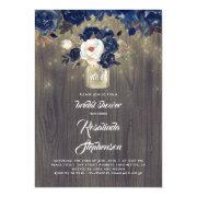 Navy Floral Mason Jar Rustic Bridal Shower Invitation