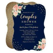 Navy Gold Floral Confetti Wedding Couples Shower