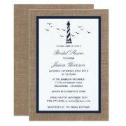 Navy Lighthouse On Burlap Nautical Bridal Shower Invitation