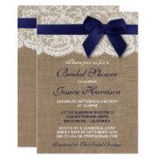 Navy Ribbon On Burlap & Lace Bridal Shower Invitation