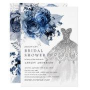 Navy & Silver Floral Wedding Dress Bridal Shower Invitation