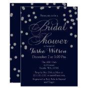 Navy Silver Glitter Bridal Shower Invite