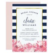 Navy Stripe & Pink Peony Bridal Shower