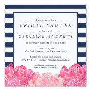 Navy Stripe & Pink Peony Bridal Shower