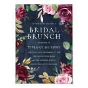 Navy Watercolor Floral Wreath Bridal Shower Brunch Invitation