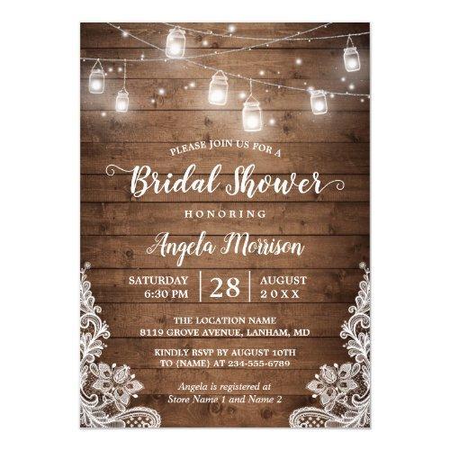 (new Font) Mason Jars Lights Rustic Bridal Shower Invitations