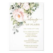 New Plans Pink Flowers Bridal Shower Postponed Invitation