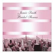 Nyc Etched Skyline 2, Black Pink Bridal Shower Invitations