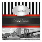 NYC Skyline Brooklyn Bridge, Boat Bridal Shower Personalized Invitations