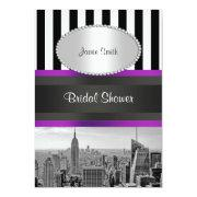 Nyc Skyline Bw Blk Wht Strp Purple P Bridal Shower